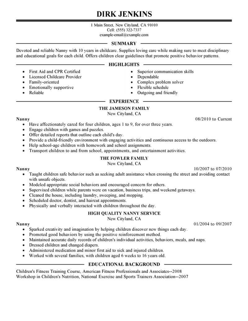Best Nanny Resume Example | LiveCareer
