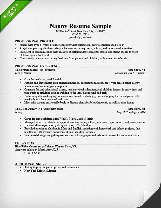 Nanny Resume Sample & Writing Guide | Resume Genius