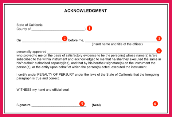 notary acknowledgement sample | sop examples