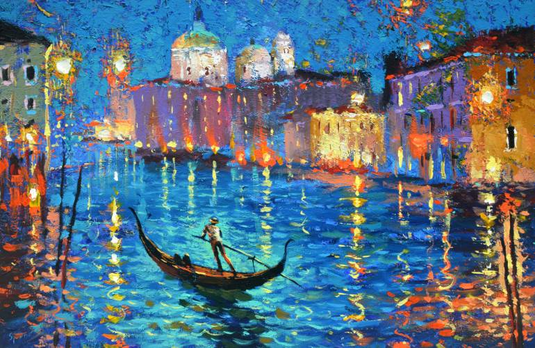 Saatchi Art: Night. Venetian canal. oil paintings by Dmitry Spiros