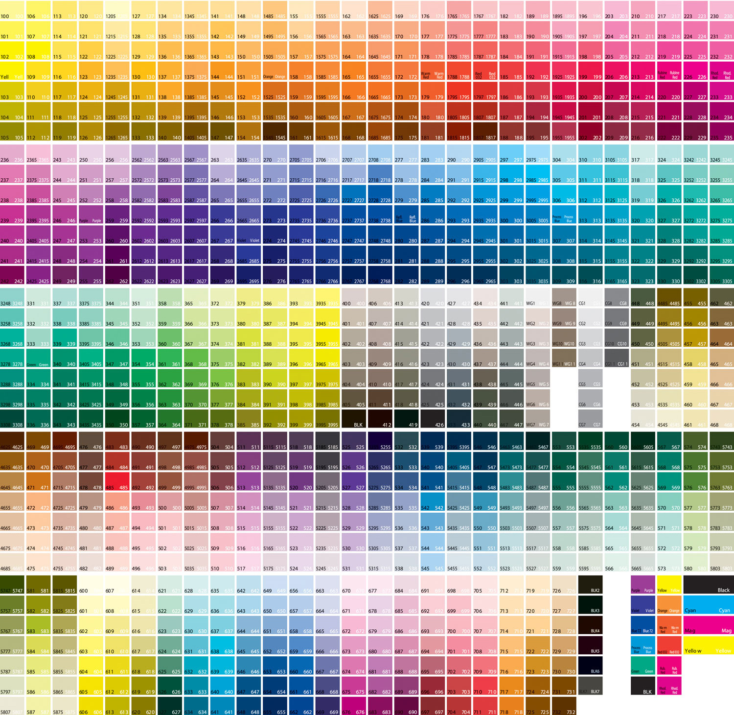Free Pantone PMS color matching chart.