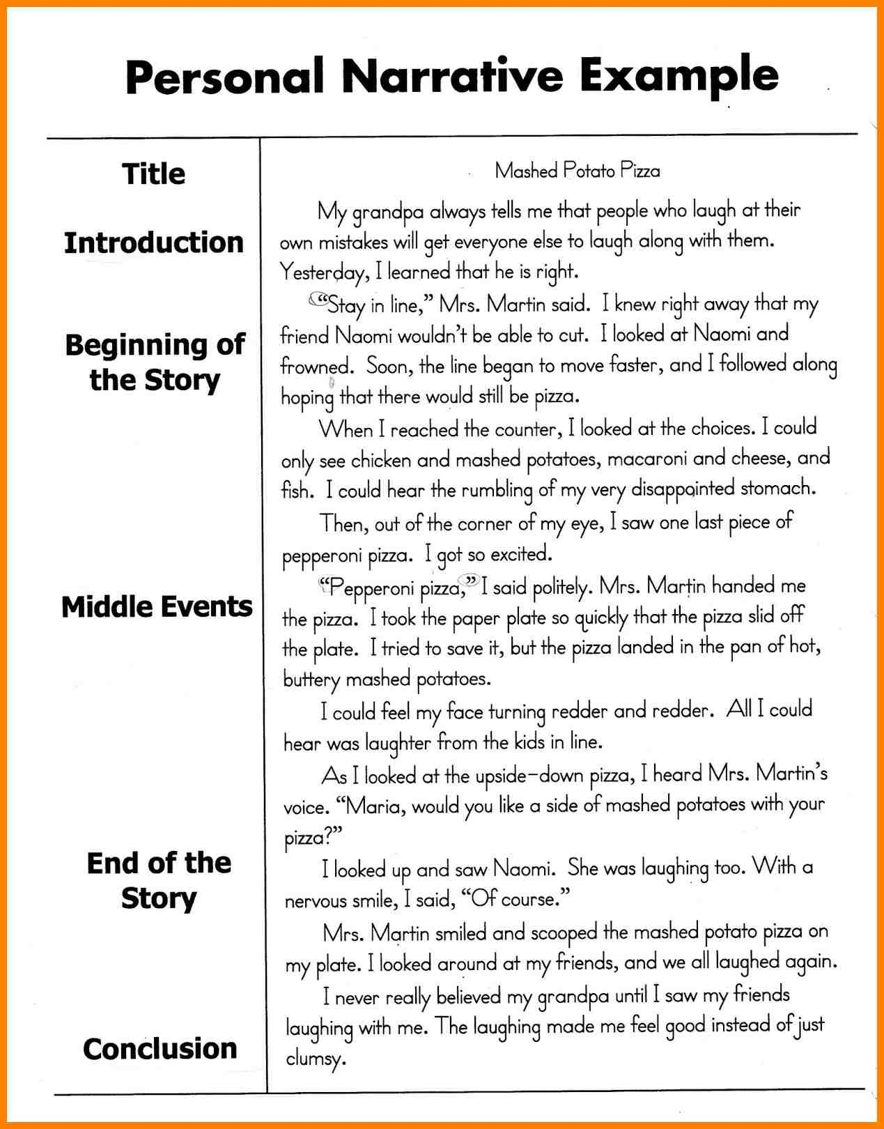 Personal Narrative Examples 8Th Grade | World of Example