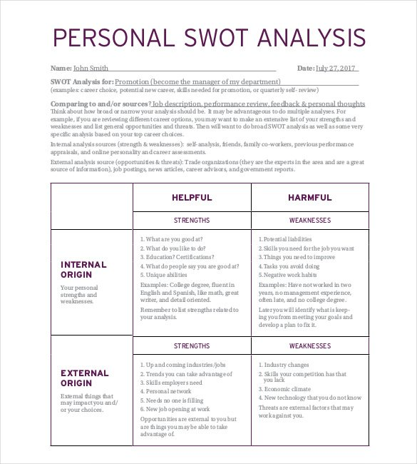 Personal SWOT Analysis Template 23+ Examples in PDF, Word | Free