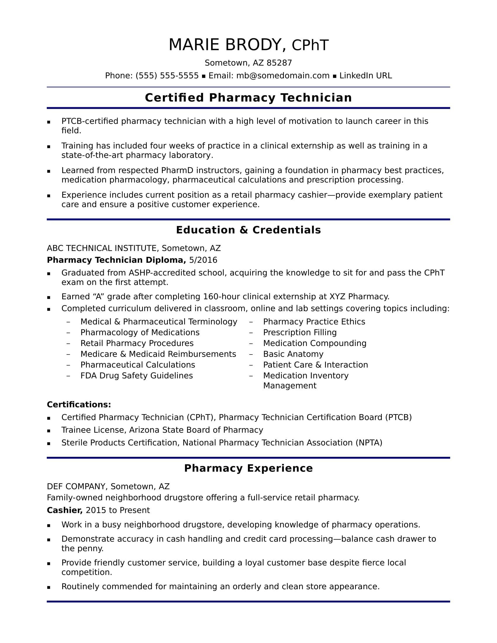 Entry Level Pharmacy Technician Resume Sample | Monster.com