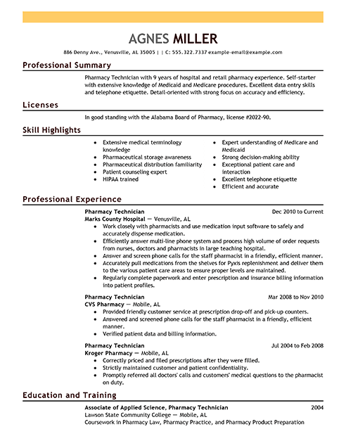 Best Pharmacy Technician Resume Example | LiveCareer