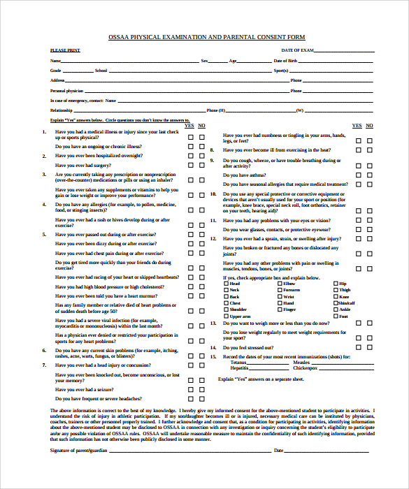 physical examination template form Incep.imagine ex.co