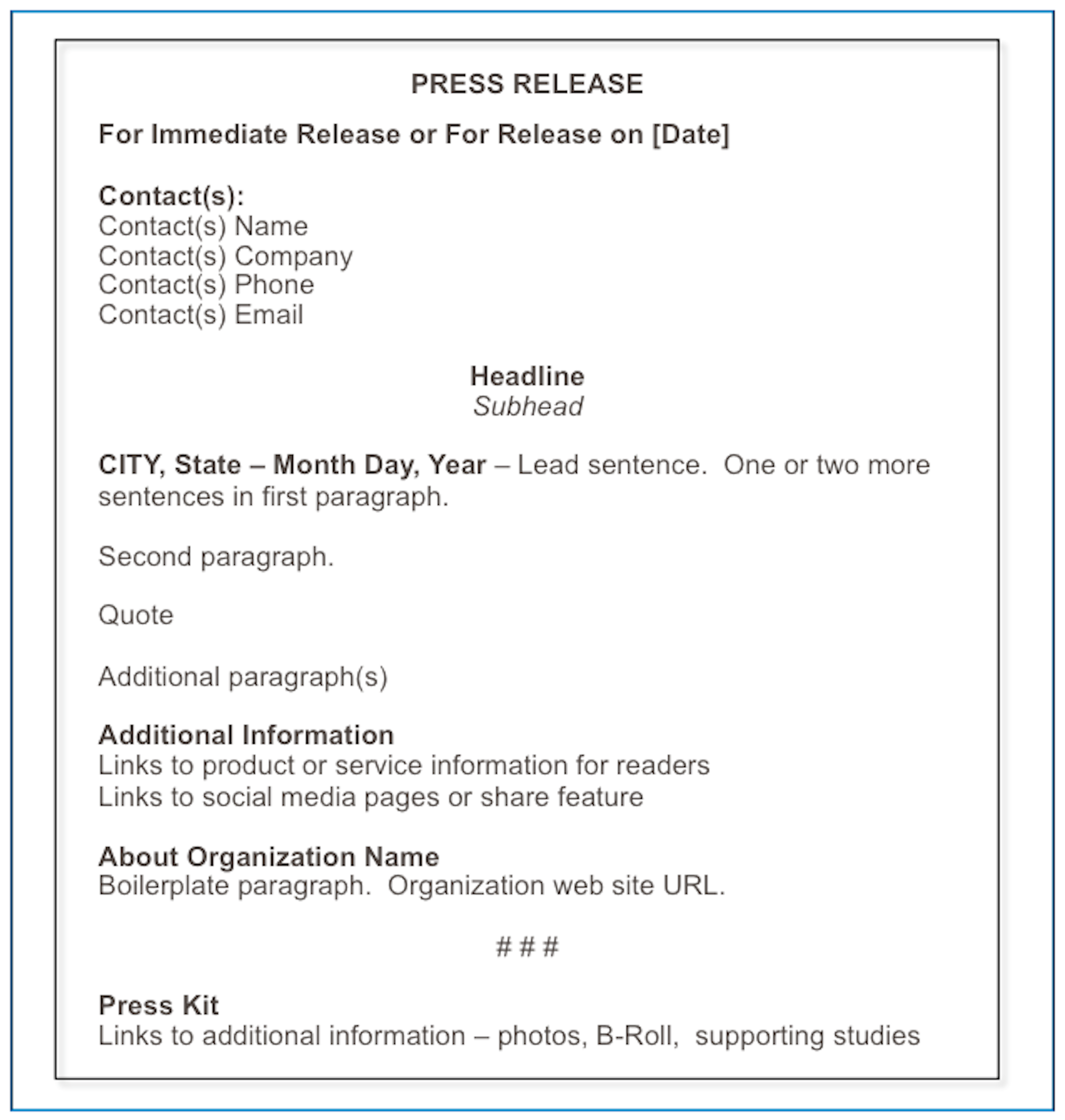 How to Format a Press Release Matthews on Marketing