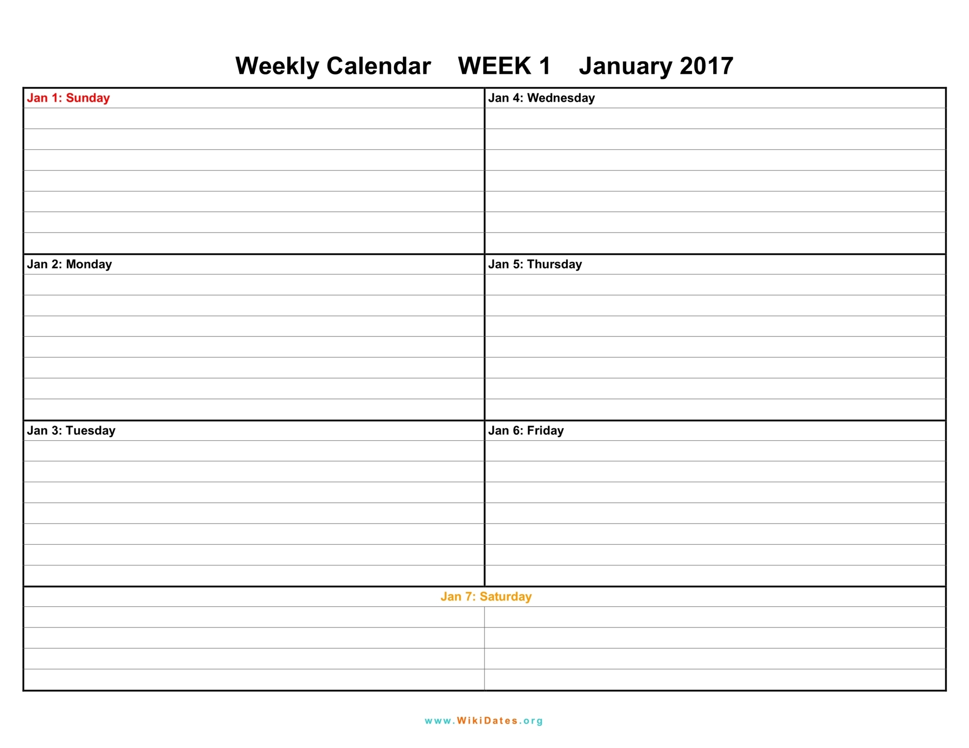 Lined Weekly Printable Calendar CalendarsQuick