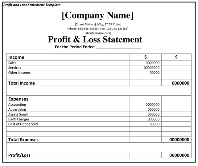Profit And Loss Template Printable Profit And Loss Statement