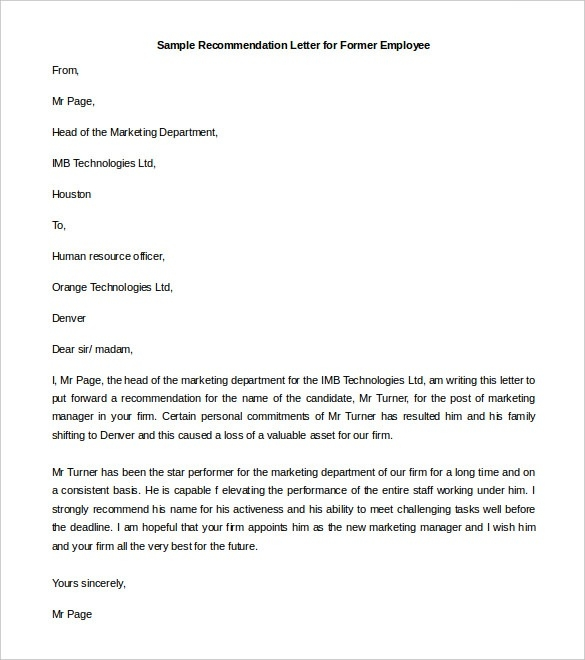 27 Recommendation Letter Templates – Free Sample, Example Format