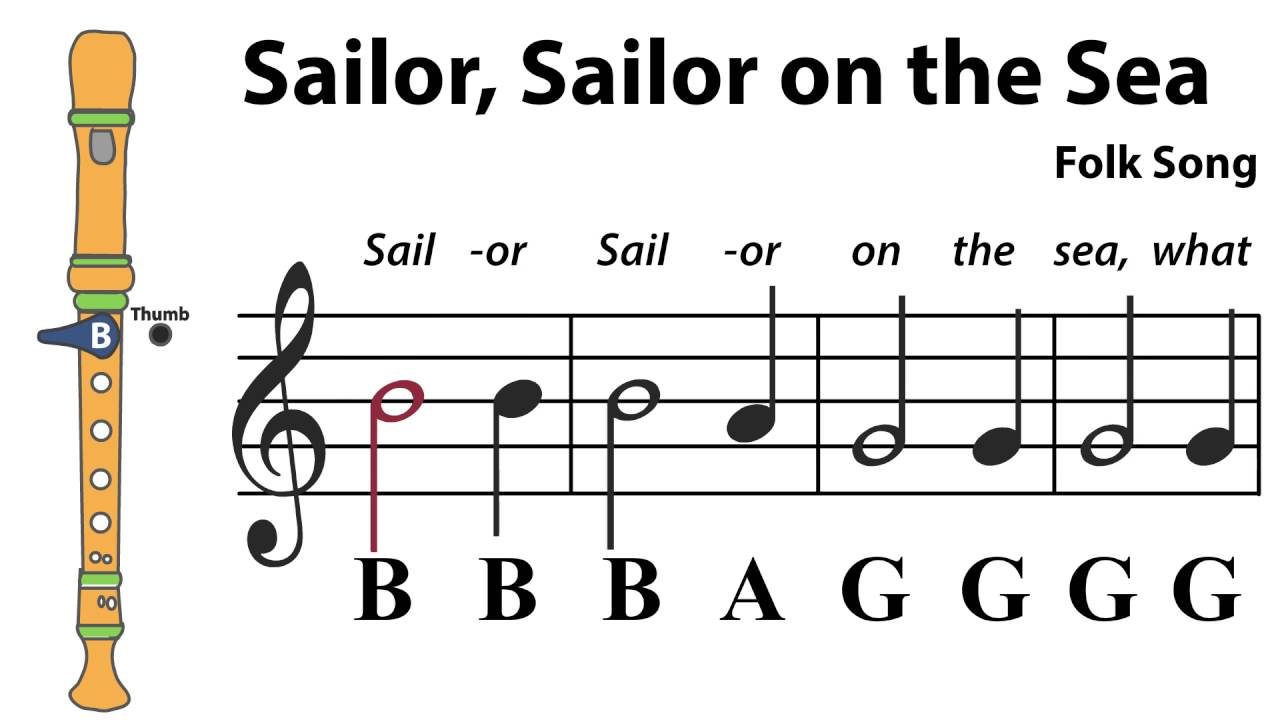 Recorder Song #3: Sailor, Sailor on the Sea YouTube