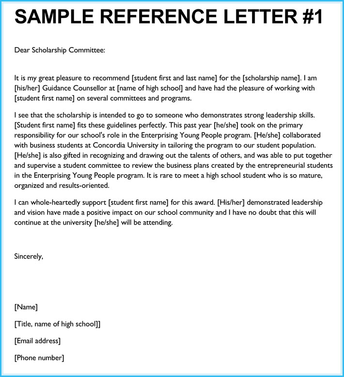 Reference Letter Template For Student Scholarship Gdyinglun.com