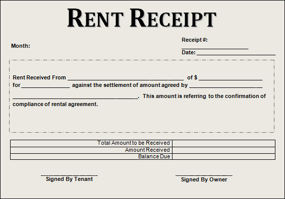 Rent Receipt Template 9+ Forms for Word Doc, PDF Format