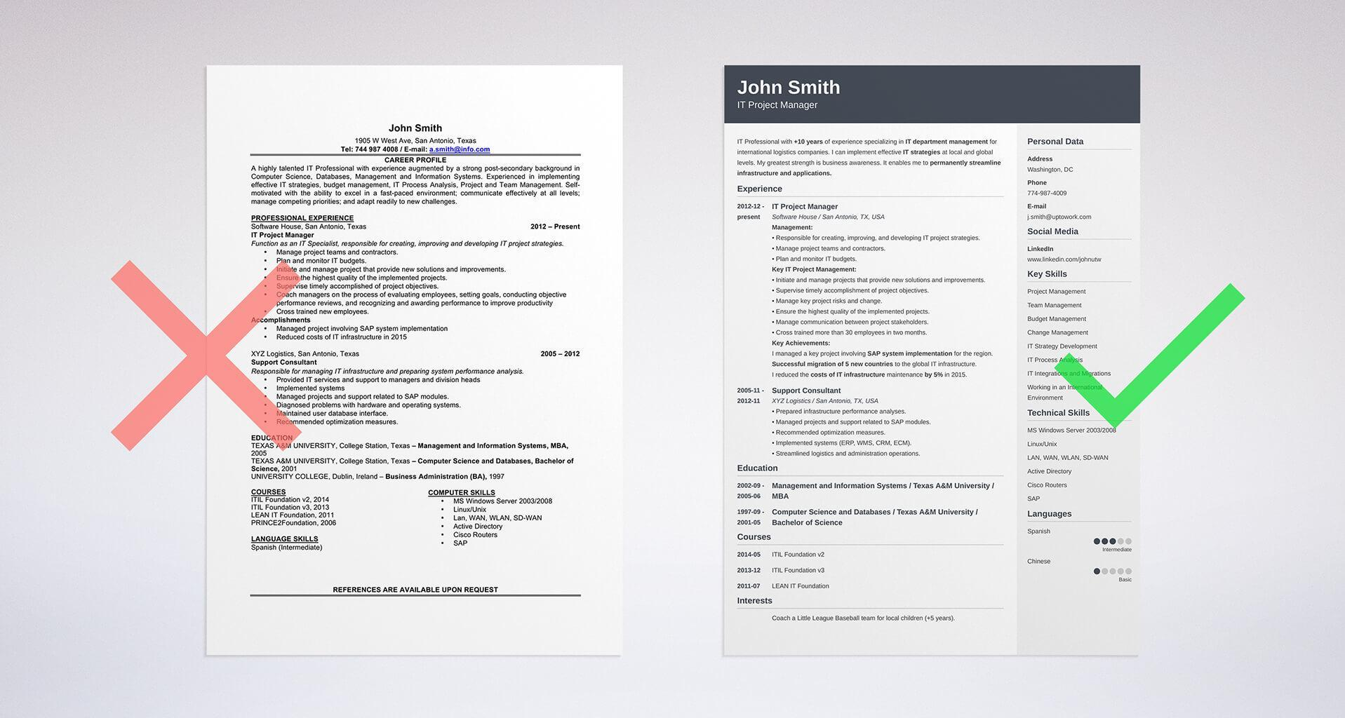 Professional Resume Format Pdf Download Curriculum Vitae Free
