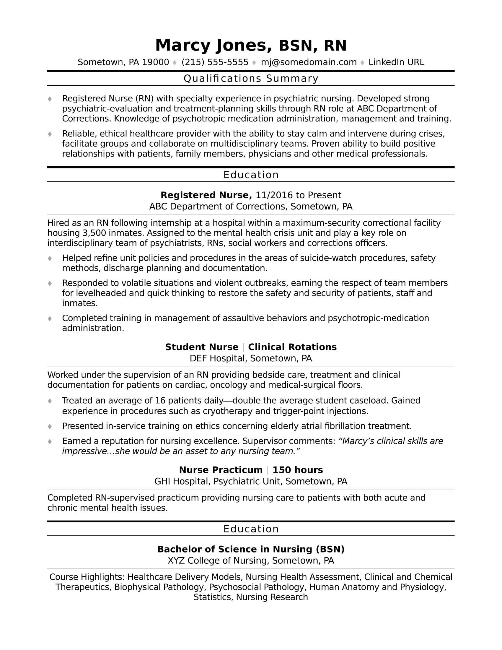 Registered Nurse Rn Resume Sample Monster Nursing Objective Entry