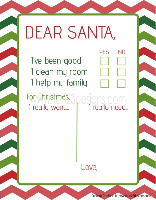 Dear Santa Christmas List Printable
