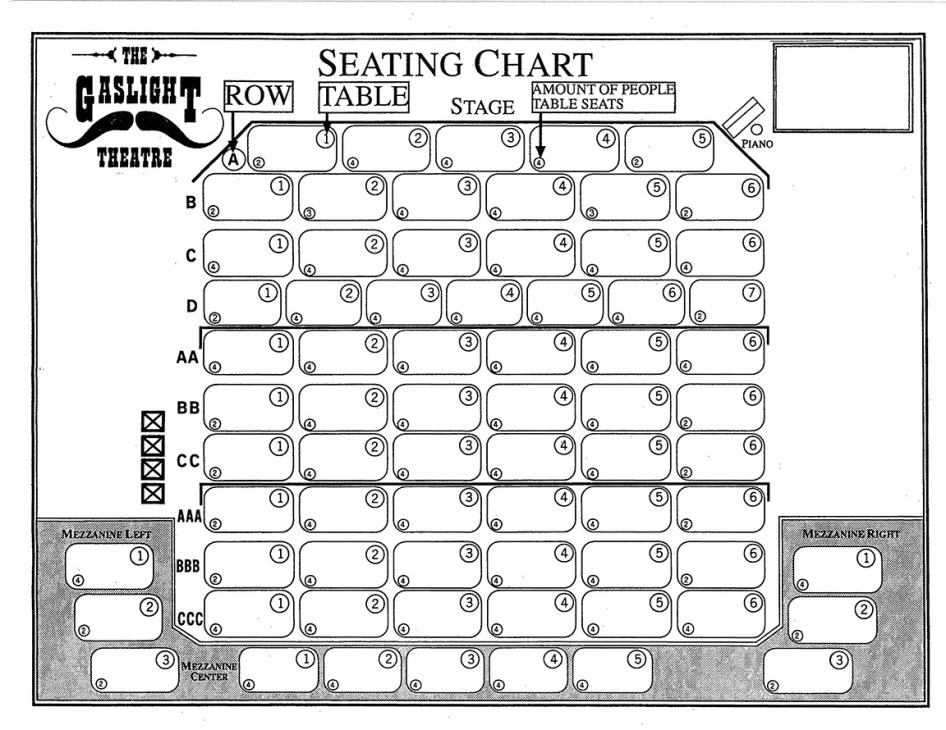 Seating Chart | The Gaslight Theatre