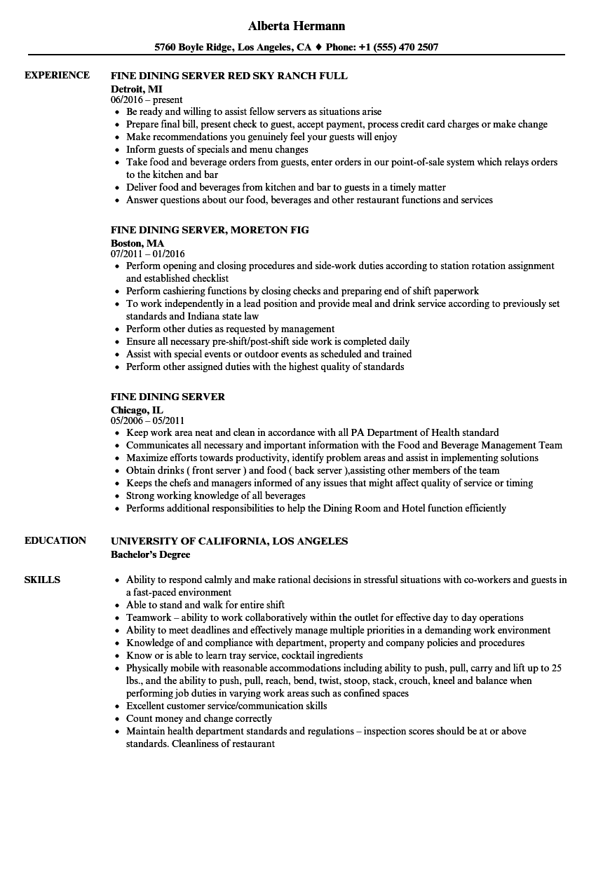 Fine Dining Server Resume Samples | Velvet Jobs