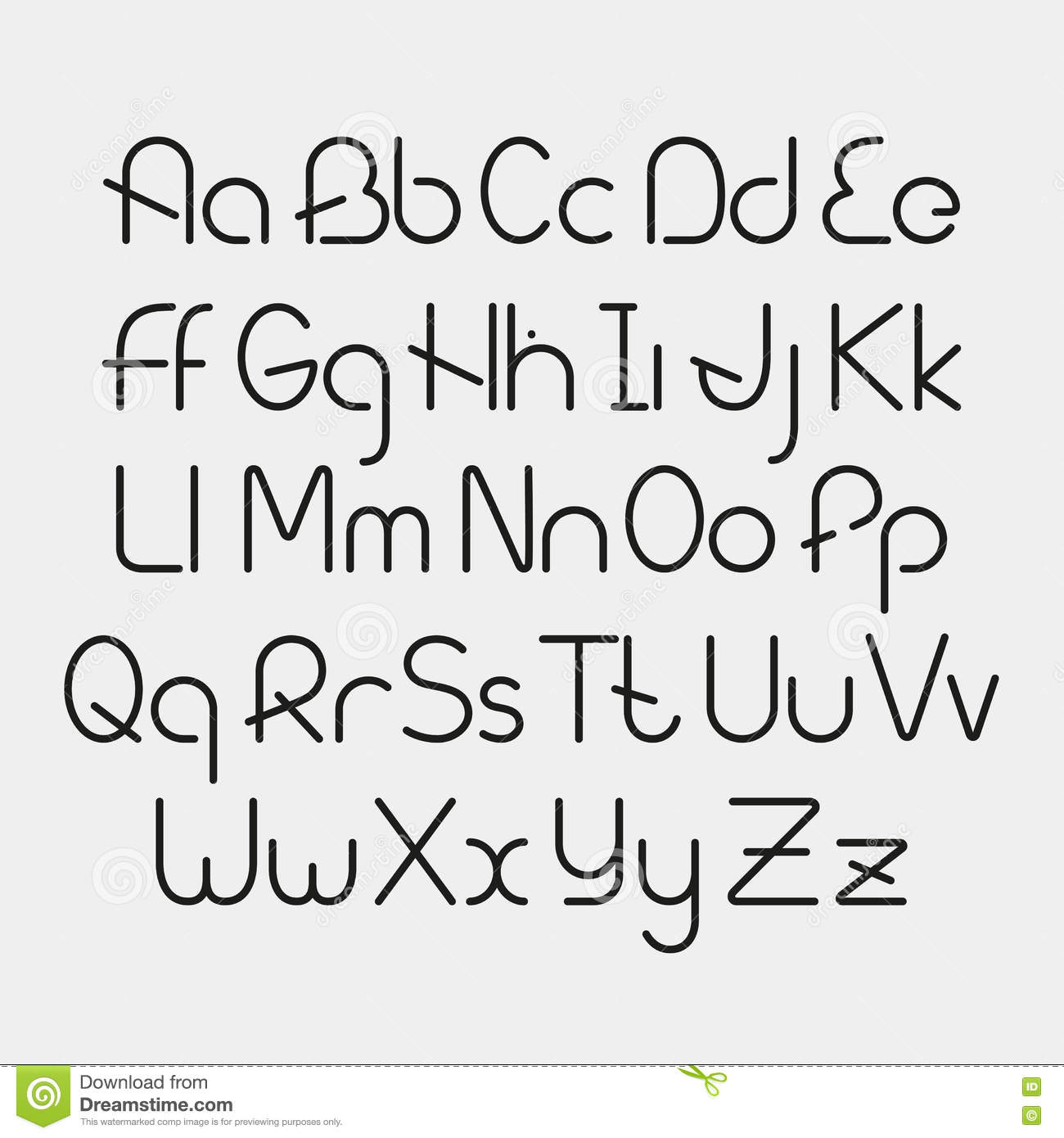 Simple Fonts Alphabet Vector Linear Font Simple And Minimalistic