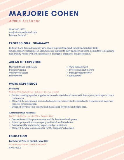 Pink and Cream Simple Resume Templates by Canva