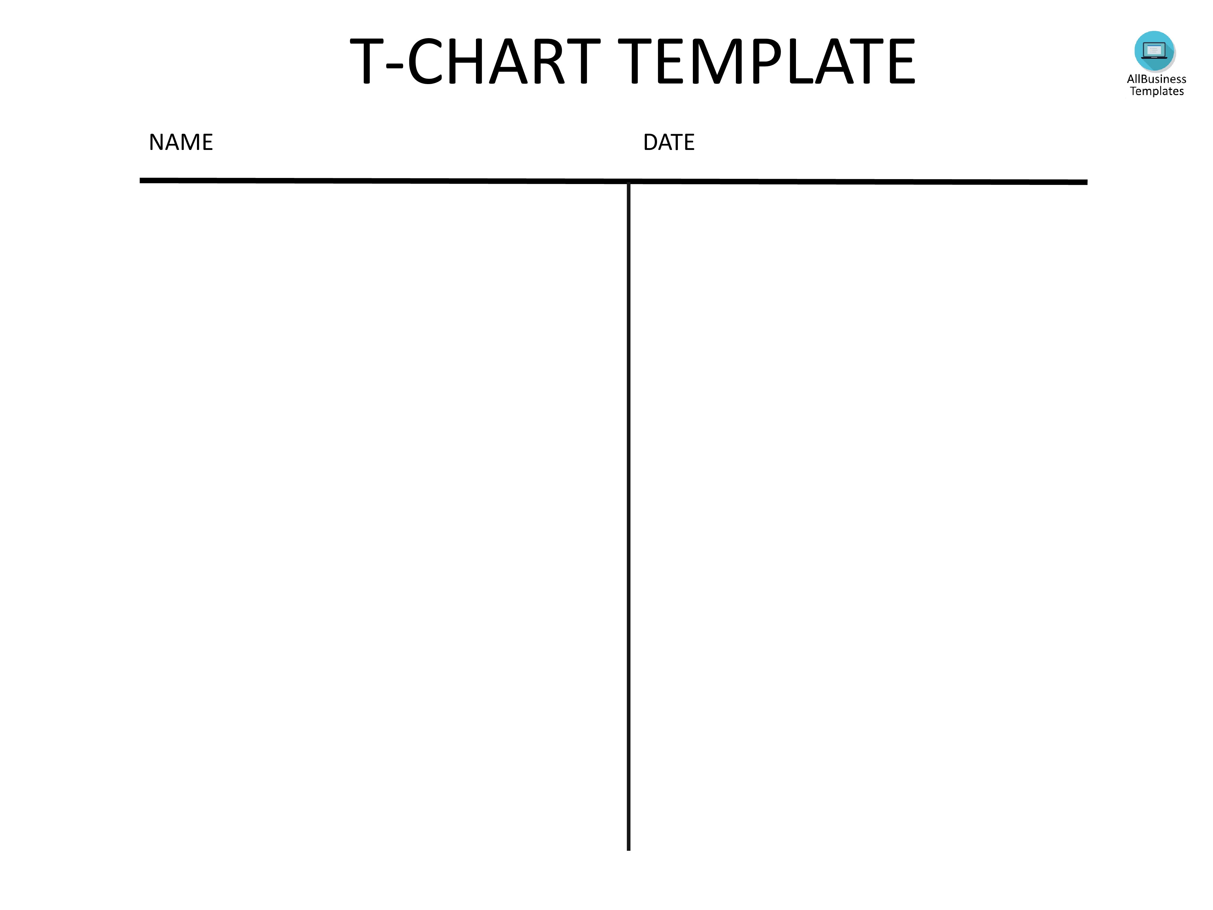 30 Printable T Chart Templates & Examples Template Archive