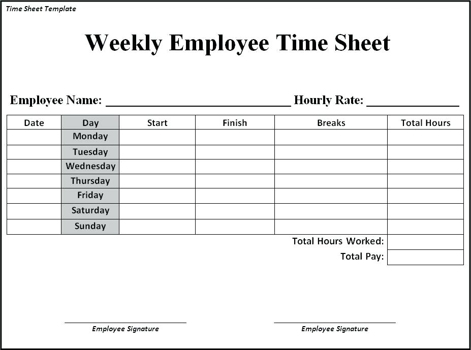 Google Docs Timesheet Template Employee Weekly Time Sheet Google