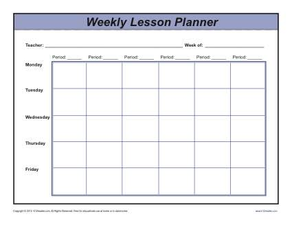 Weekly Lesson Plan template for Resource/Intervention/Multi grade