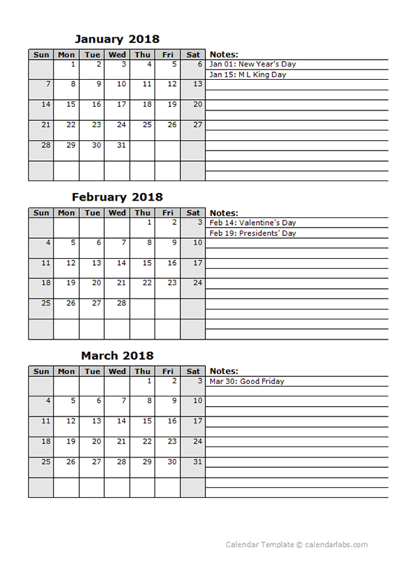 2018 Three Month Calendar Template Free Printable Templates