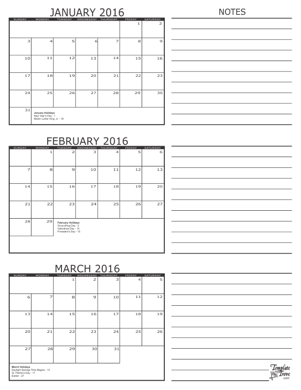2018 Three Month Calendars Freeology
