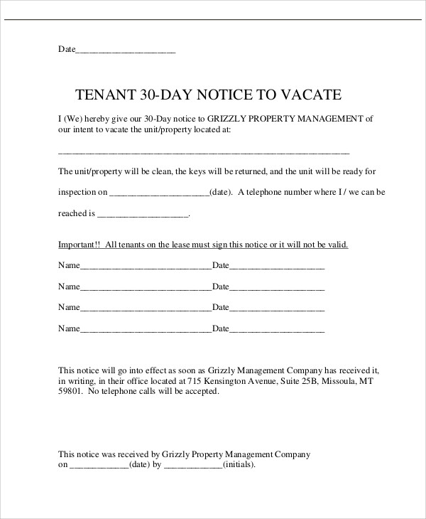 landlord 30 day notice to vacate Kleo.beachfix.co