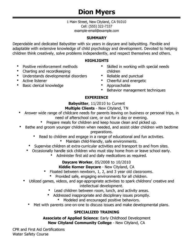 Best Babysitter Resume Example | LiveCareer