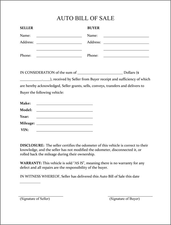 Bill of Sale Template   Download Printable Bill of Sale, Bill of