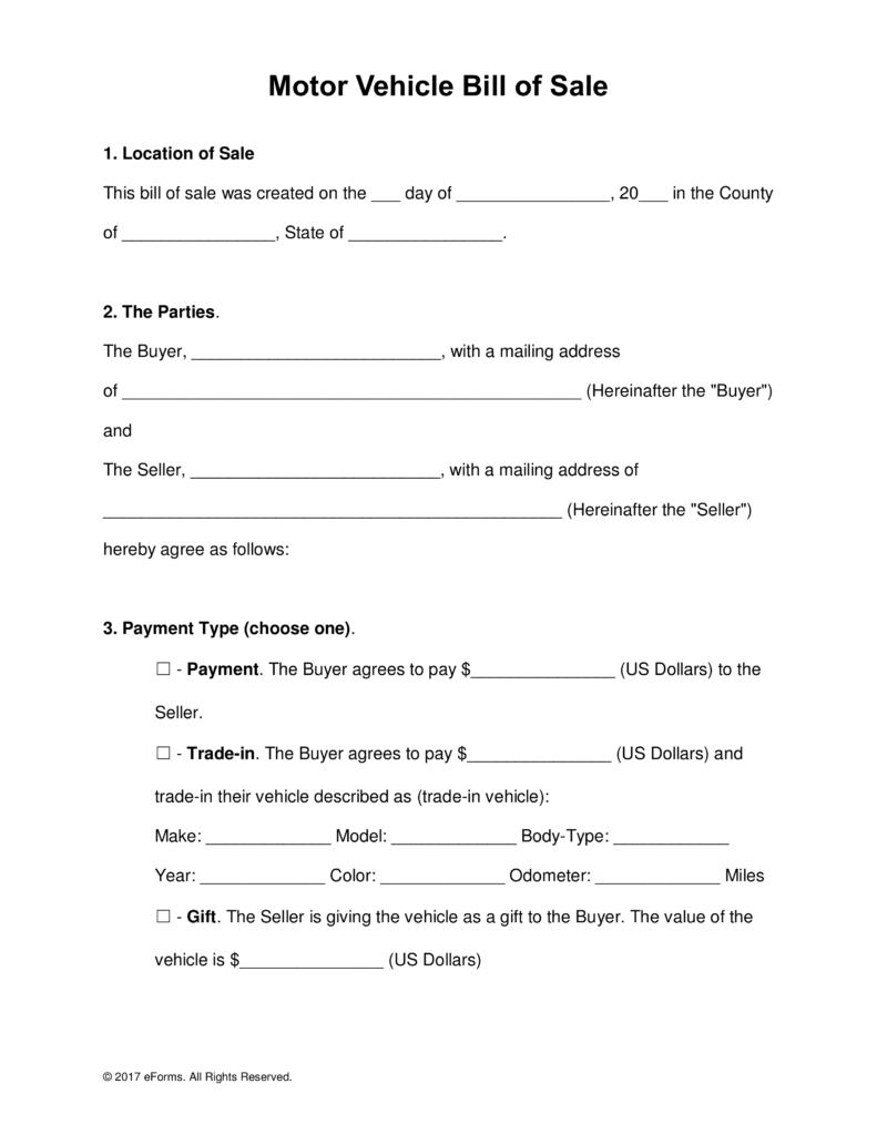 Free Bill of Sale Forms Word | PDF | eForms – Free Fillable Forms