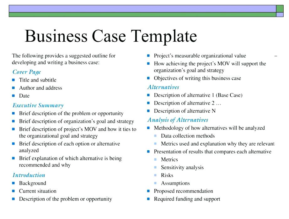 A New Hire Business Case Template Best Study Examples Class 12