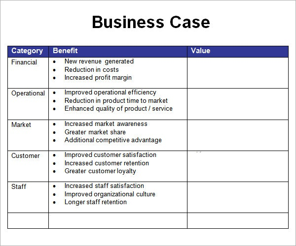 business financial snapshot template simple business case template