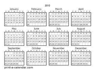 Download 2010 Printable Calendars