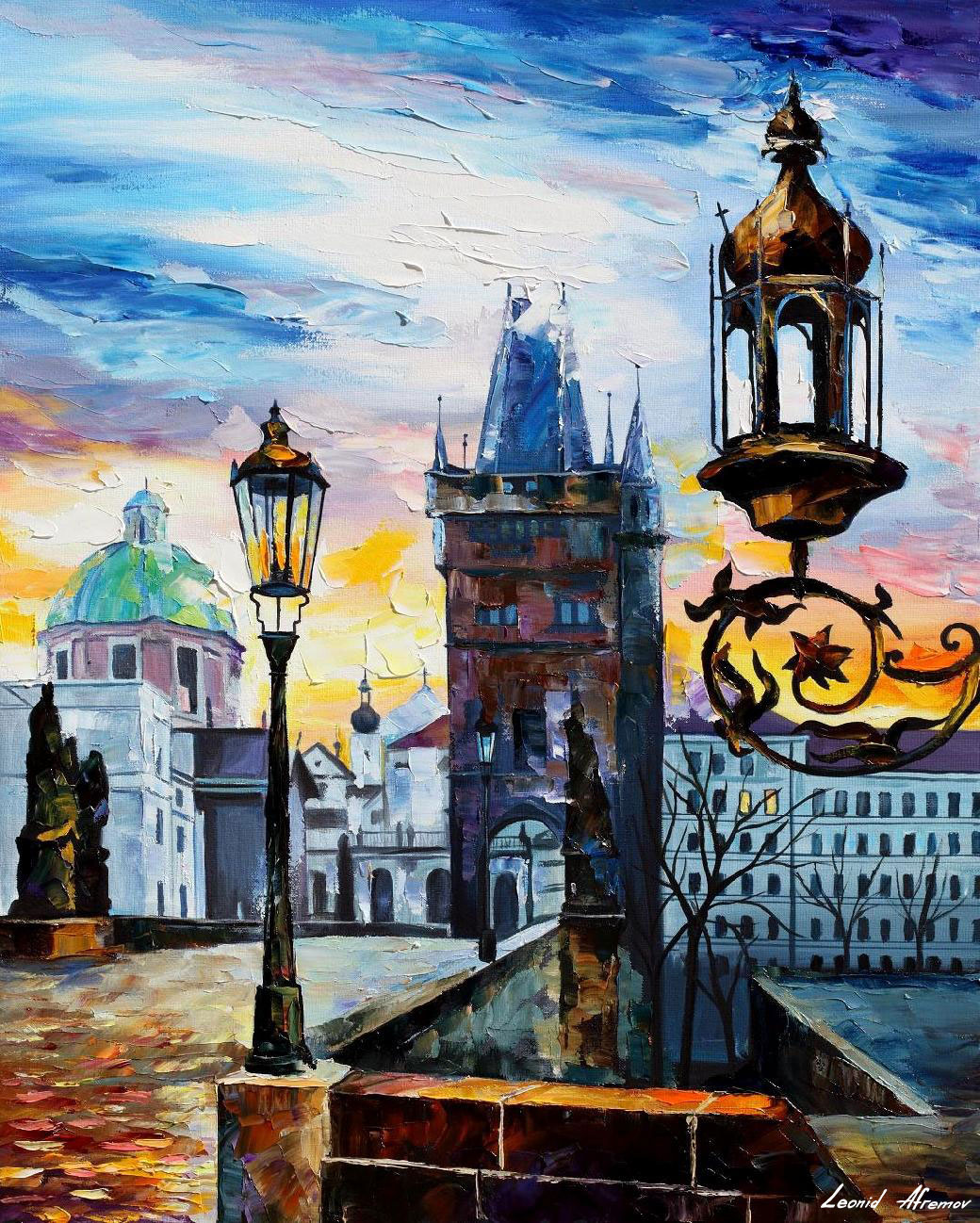 EVENING IN PRAGUE— PALETTE KNIFE Oil Painting On Canvas By Leonid
