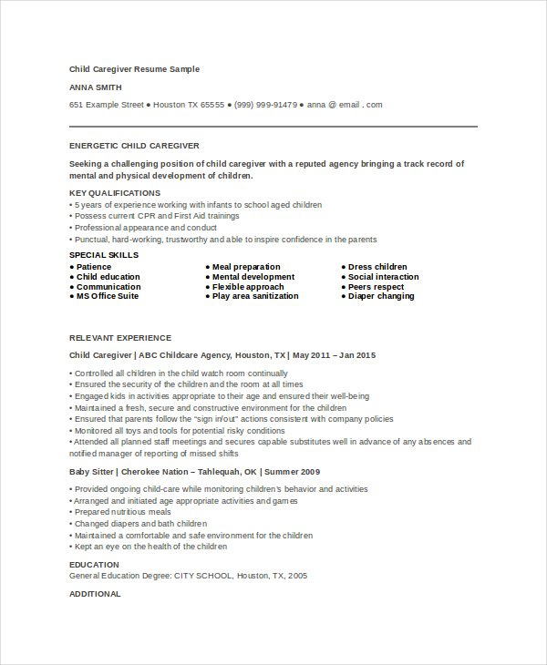 Caregiver Resume Example 7+ Free Word, PDF Documents Download