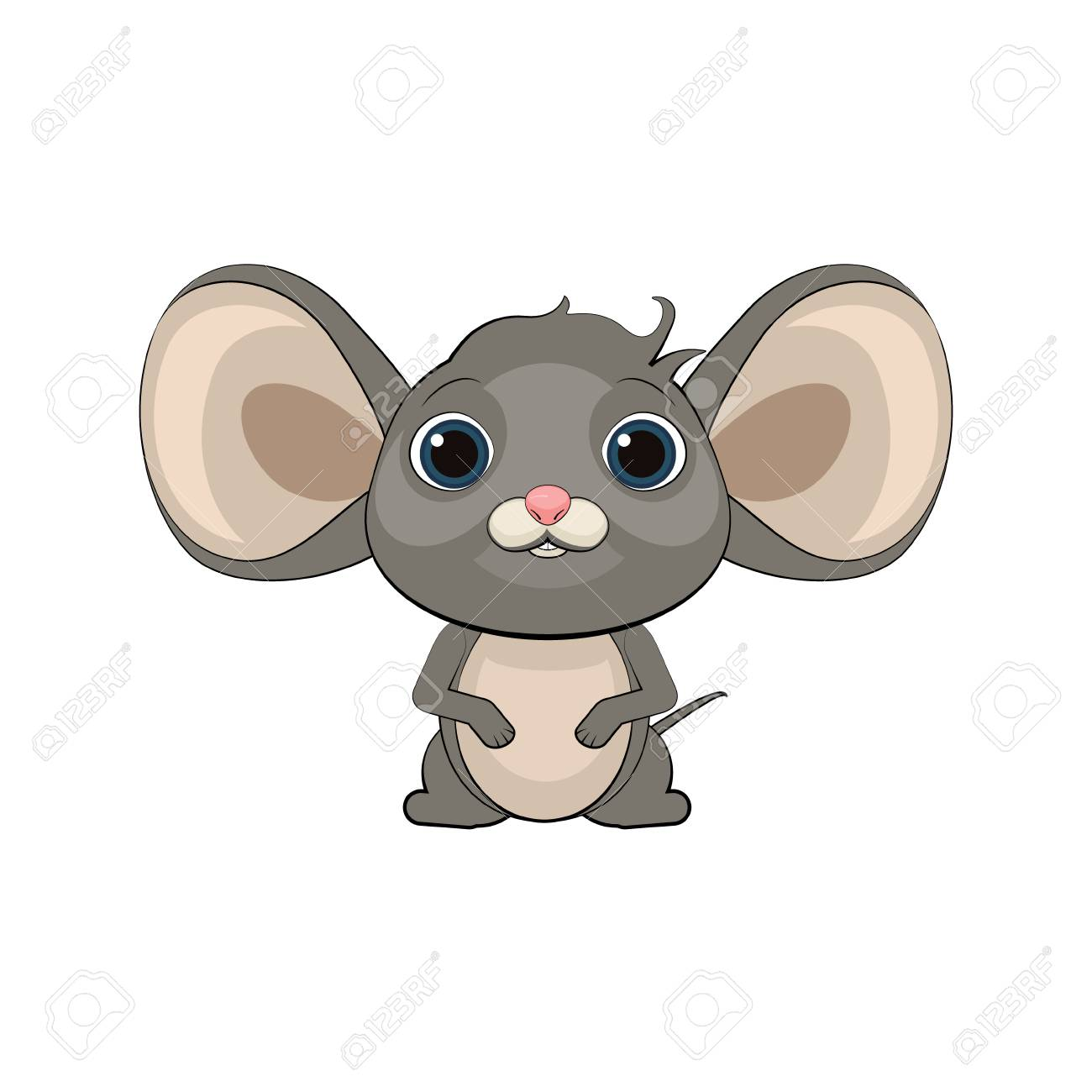 Cute Cartoon Mouse Vector Illustration. Royalty Free Cliparts