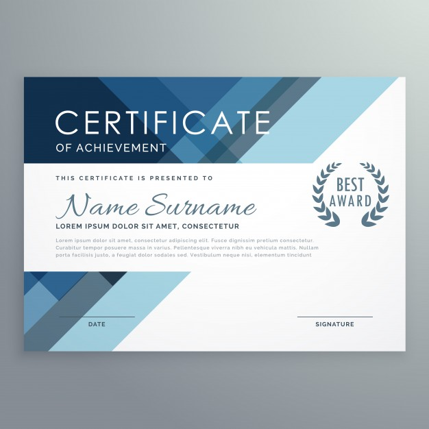 Blue certificate design in professional style Vector | Free Download