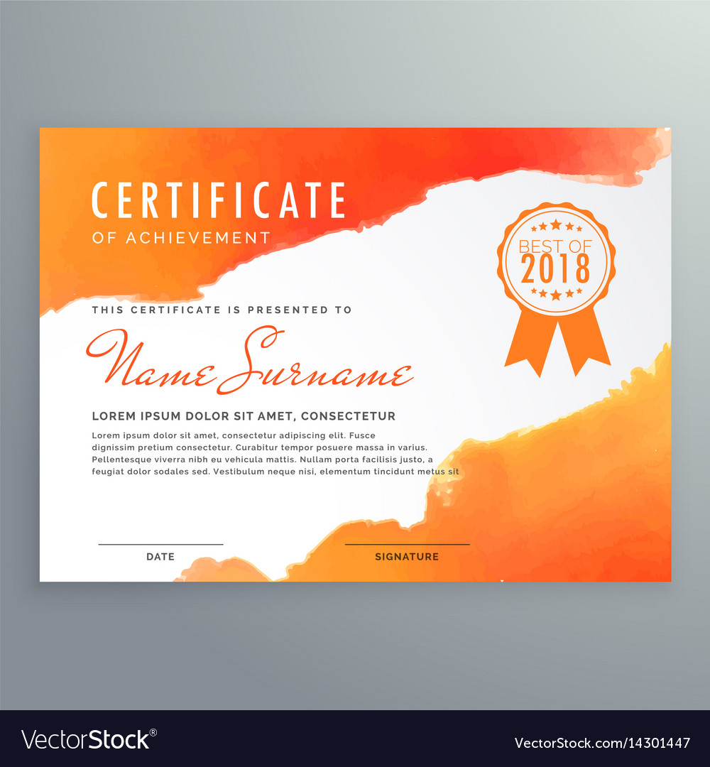 Modern certificate design with orange ink Vector Image