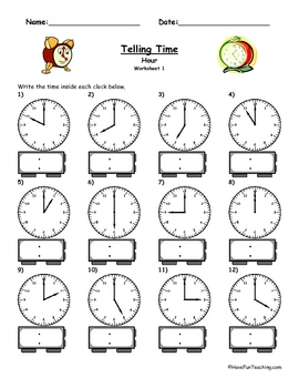 Telling Time Clock Worksheet To The Hour by Have Fun Teaching | TpT