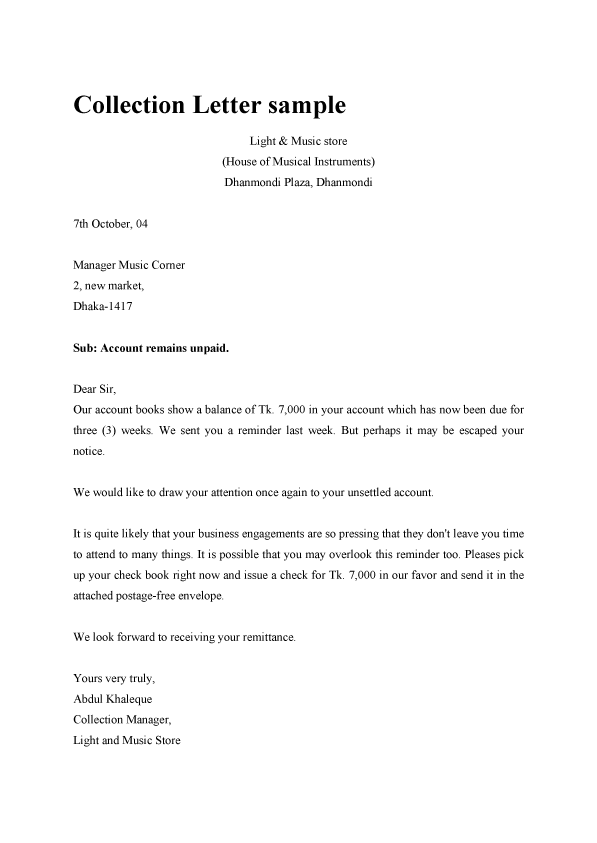 Examples Of Collection Letter 0 – joele barb