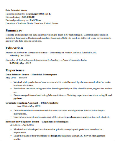 Data Scientist Resume Example – Best Resume Template