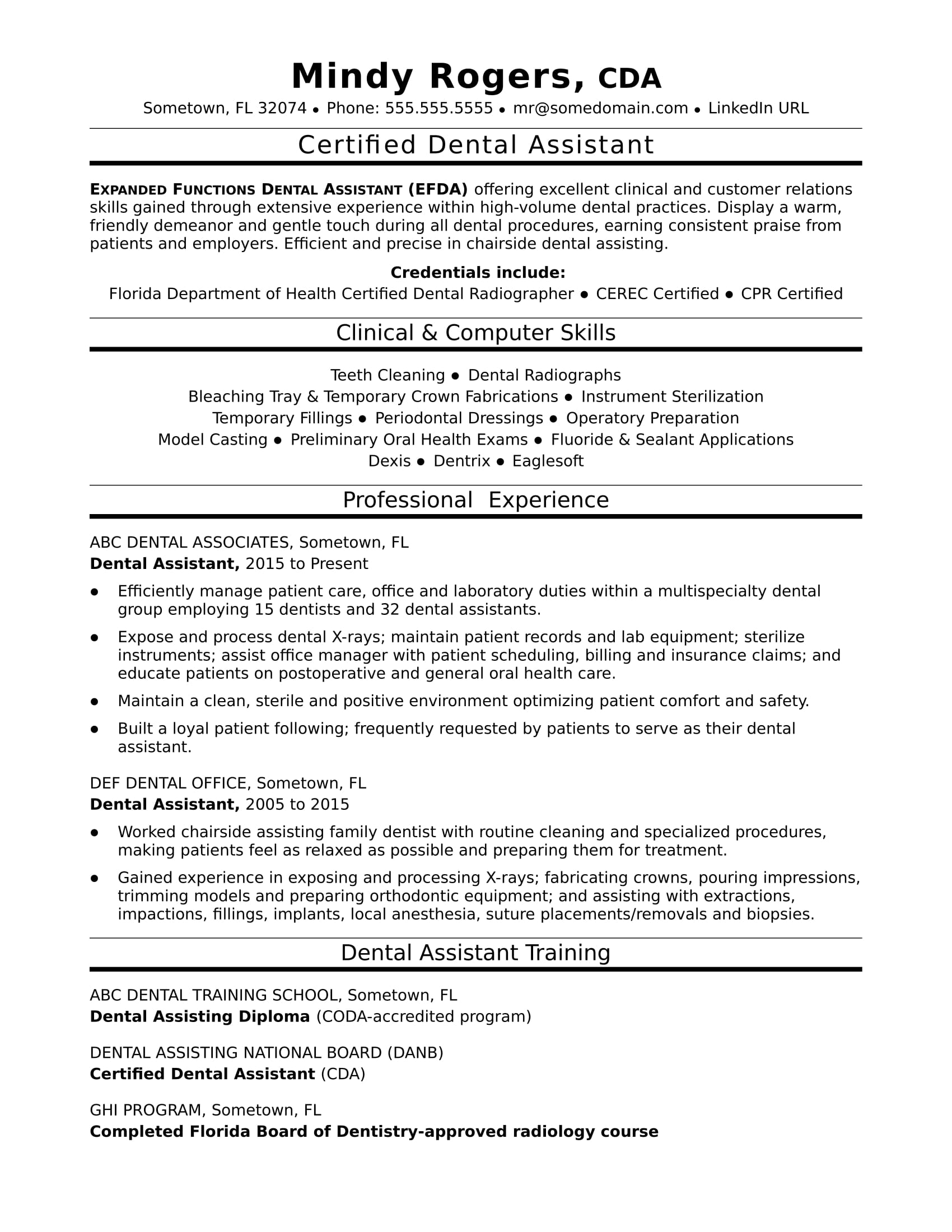 Dental Assistant Resume Sample | Monster.com