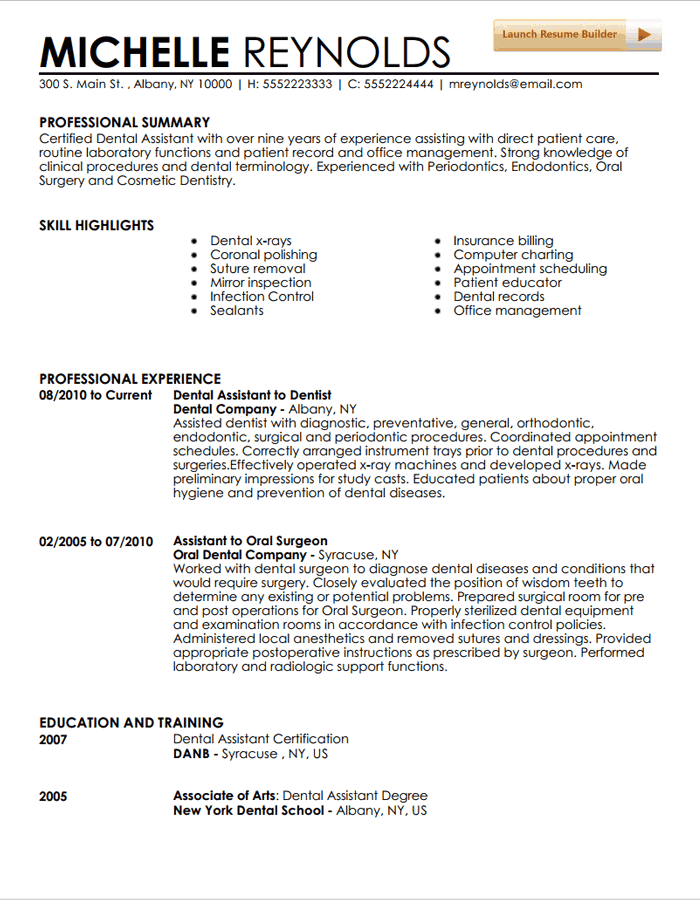 resume templates for dental assistant dental assistant resume
