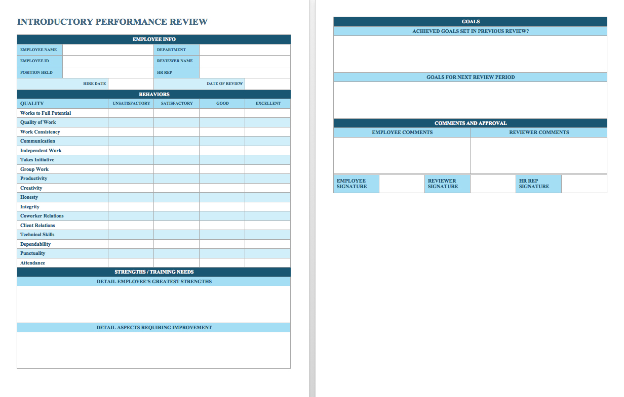 Free Employee Performance Review Templates Smartsheet