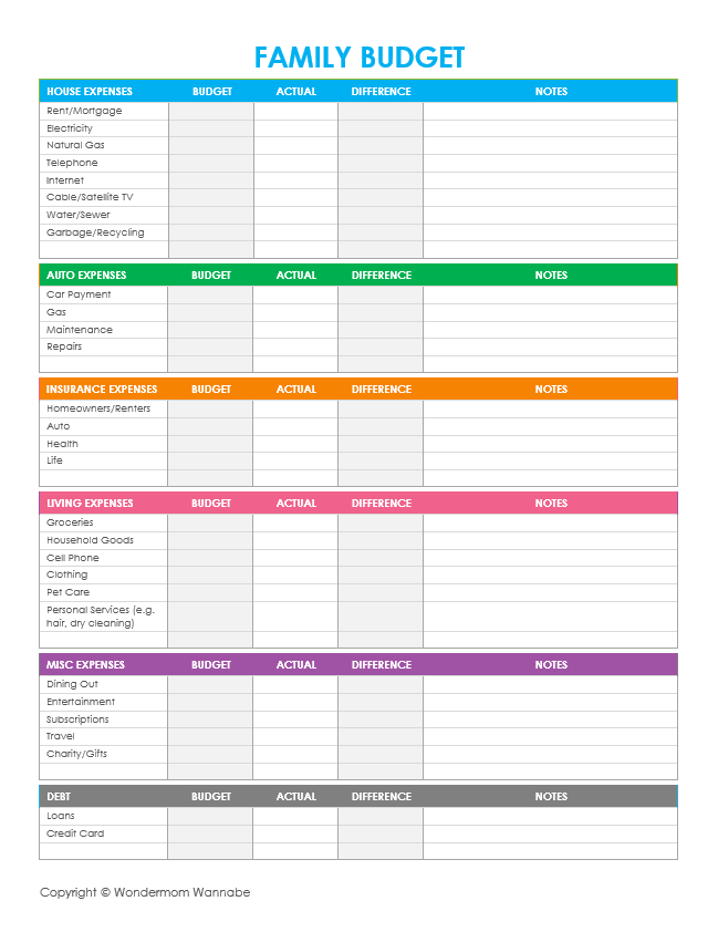 printable family budget template Kleo.beachfix.co