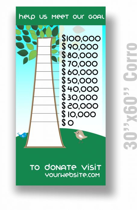 Fundraising Thermometer 30x60 Custom Printed| Goal Thermometer
