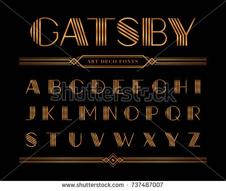 Vector Gatsby Fonts Alphabet Gold Letter Stock Vector 737487007